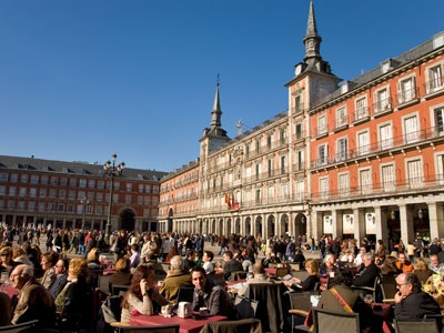 Outdoor cafés in Madrid's Plaza Mayor square
