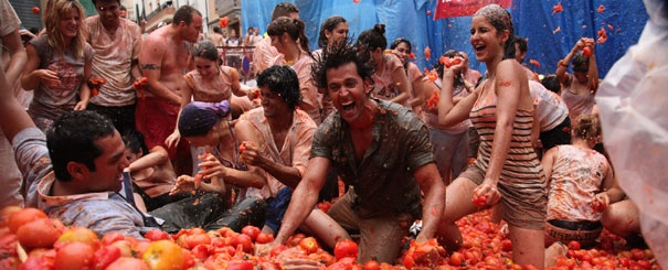 La Tomatina. Scene from the Bollywood film 'Zindagi Na Milegi Dobara' ('You won't get this life again'), filmed in Spain.