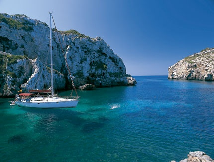 Yacht in the Cales Coves (Minorca)