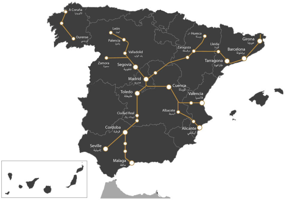 Map of Spain's AVE railway lines