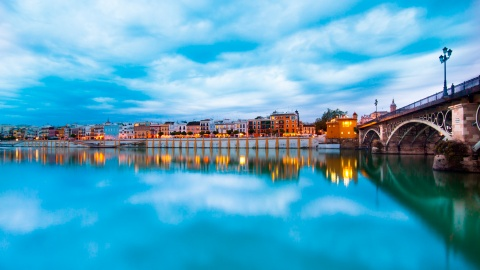 Calle Betis from the bridge to Triana, in Seville