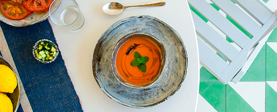 A dish of gazpacho seen from above