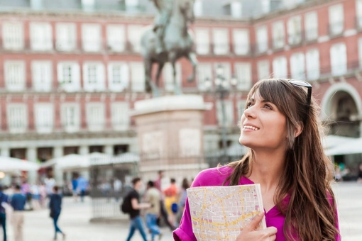 A traveller admires Madrid