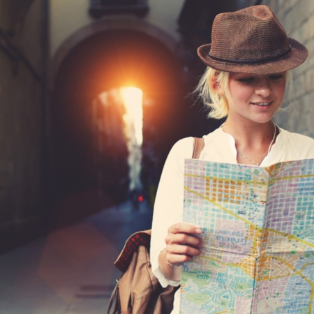 Girl looking at a map