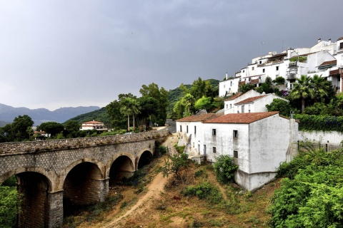 Panoramic view of Jimena de la Frontera in Cadiz (Andalusia)