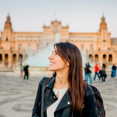 Woman visiting Plaza España in Seville