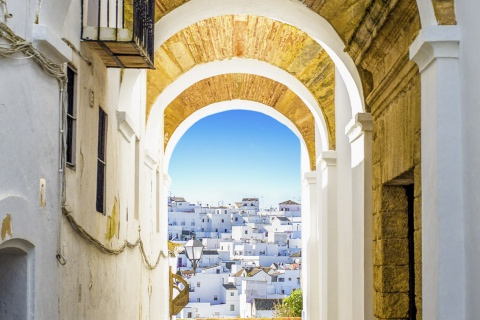 Typical street and panoramic view of Vejer de la Frontera (Cadiz, Andalusia)