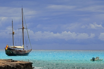 Boats on the island of Formentera. Balearic Islands