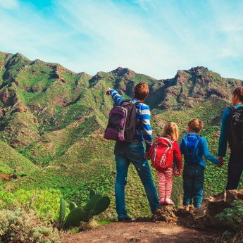 Family hiking in the Canary Islands