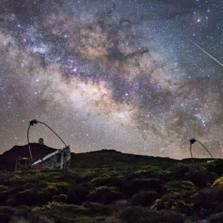 Night sky and observatory in La Palma, Canary Islands