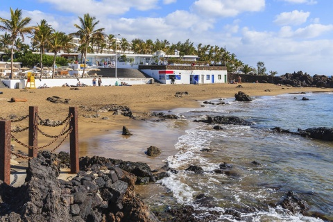 View of a beach in Puerto del Carmen, Lanzarote (Canary Islands)