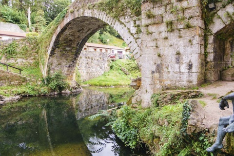 The River Miera on its course through Liérganes (Cantabria)