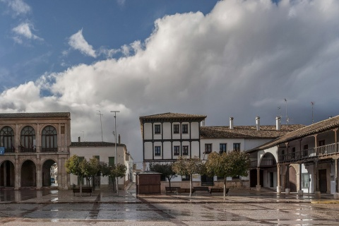 Plaza Mayor square in Villanueva de la Jara (Cuenca, Castilla-La Mancha)