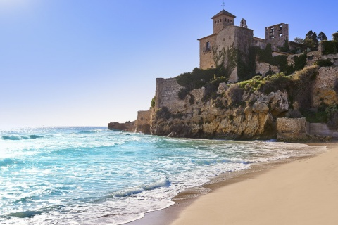 Castle and beach in Tamarit, in Altafulla (Tarragona, Catalonia)