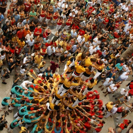 Human towers in Villafranca del Penedés, Barcelona, Catalonia.