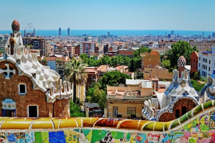 View from Parc Güell in Barcelona (Catalonia)