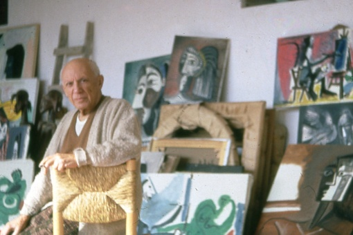 Roberto Otero (1931-2004) Picasso in his studio. In the background, from left to right: 'Woman with Dog (Jacqueline with Kabul)' (1962), 'The Vauvenargues Cupboard' (1959-1960), 'Head of a Woman (Jacqueline)' (1962) and 'Seated Woman with a Hat' (1962) Mougins, Notre-Dame-de-Vie, [1964 - 1972]. Chromogenic print