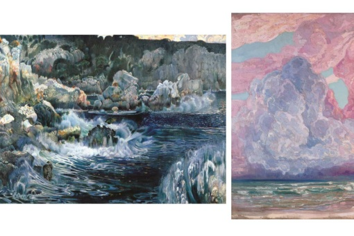 Left: The Enchanted Cove, Joaquim Mir. Right: Storm on the Beach, Anglada-Camarasa.