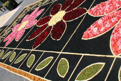 Traditional carpet of flowers for the feast of Corpus Christi in San Cristóbal de la Laguna, Tenerife.