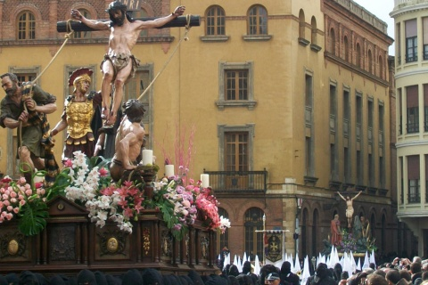 Procession with religious sculptures. Easter Week in León