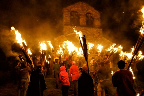 Summer solstice fire festivals in the Pyrenees. Vall de Boí (Lleida)
