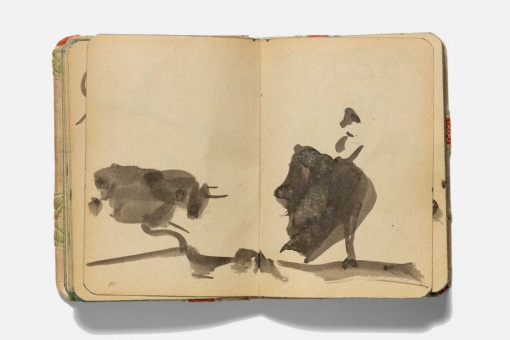 Pablo Picasso. Summoning the Bull with the Cape. Pepe Illo. Tauromaquia, Sketchbook. Cannes, 24 December 1957