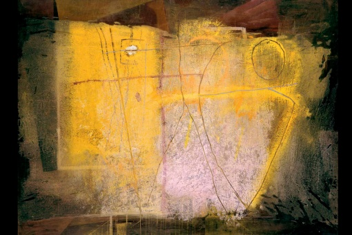 El grito. Amarillo y violeta / Mixed media on canvas / 97 × 130 cm.
