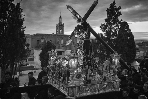 The procession of the Subida al Calvario (Climb to Calvary) of the image of Jesús Nazareno during Easter in Sagunto (Valencia)
