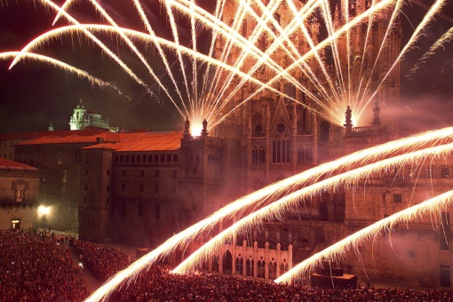 Fireworks to celebrate the Festival of Santiago Apóstol