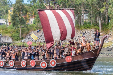 Landing during the Viking Procession in Catoira