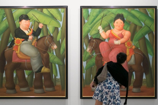 View of the Botero exhibition. 60 Years of Painting, at the CentroCentro art centre, Madrid.