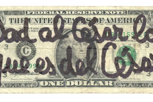 León Ferrari. Dad (from the series Electronicartes), 2002- Ink on one-dollar bill.