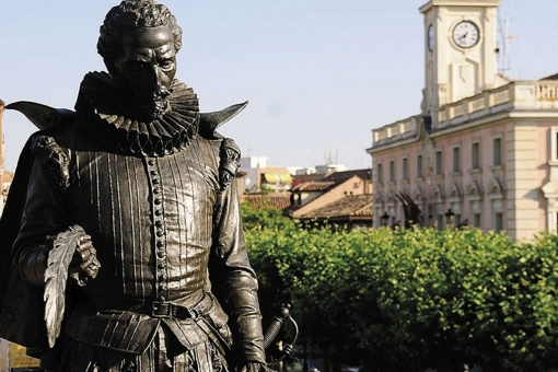 Statue in Cervantes Square in Alcalá de Henares where the Cervantes Prize, one of the most important literary awards, is given out