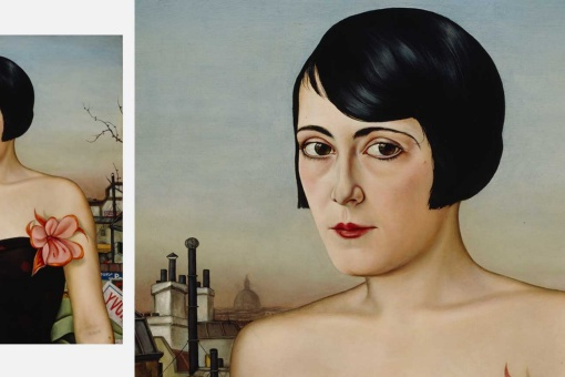 Detail and work. Christian Schad. Maika, 1929. Oils on wood. 65 x 63 cm.