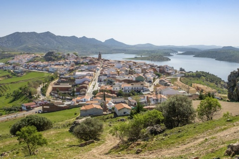Panoramic view of Alange (Badajoz, Extremadura)
