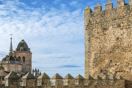 View of the Church of Santa Ana from the walls of Jerez de los Caballeros in Badajoz (Extremadura)