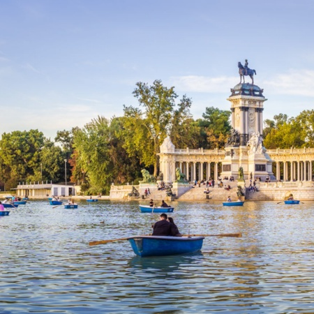 Lake with boats in the Retiro Park, Madrid
