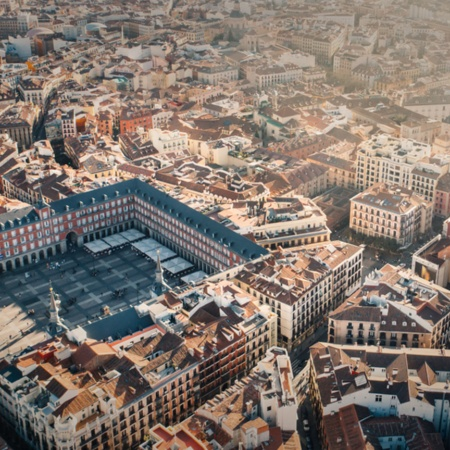 Aerial view of the Plaza Mayor square and the city of Madrid