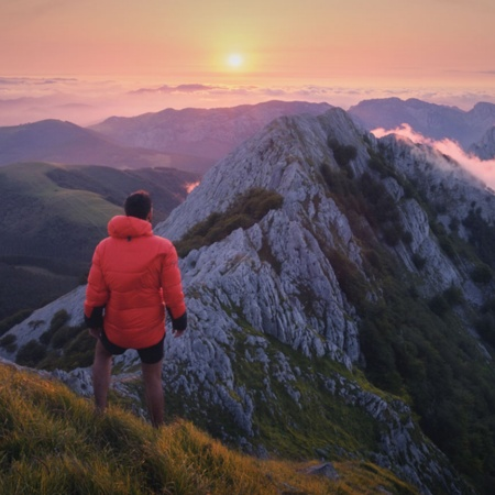 Hiker in the Anboto mountain in Urkiola Natural Park, Basque Country