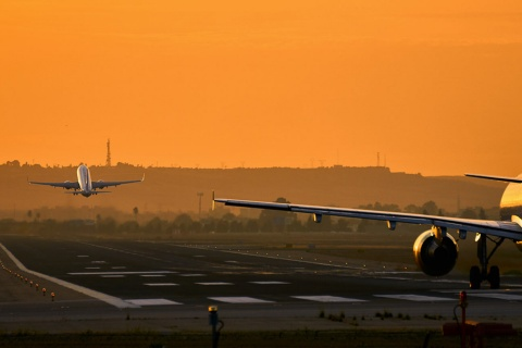 Aircraft taking off from Seville airport