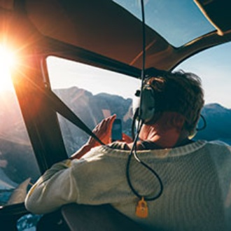 Tourist in a helicopter