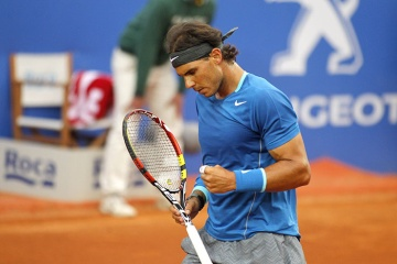 Rafa Nadal celebrating winning a point