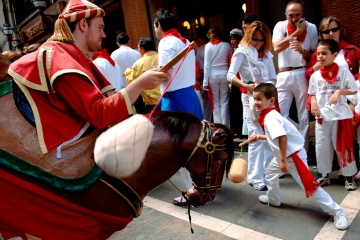 A horse and rider costume, one of the carnival figures parading for the fiestas of San Fermín in Pamplona (Navarre)