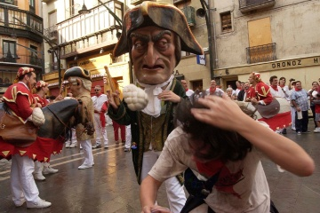 The famous Kilikis, a local tradition in the parade of carnival figures in the fiestas of San Fermín Pamplona (Navarre)
