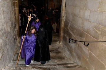 Flagellants in the Holy Burial procession at Easter in San Vicente de la Sonsierra (La Rioja)