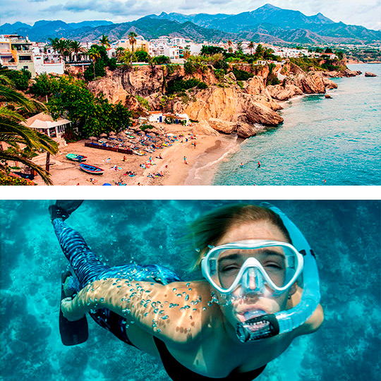 Nerja beach and young woman snorkelling