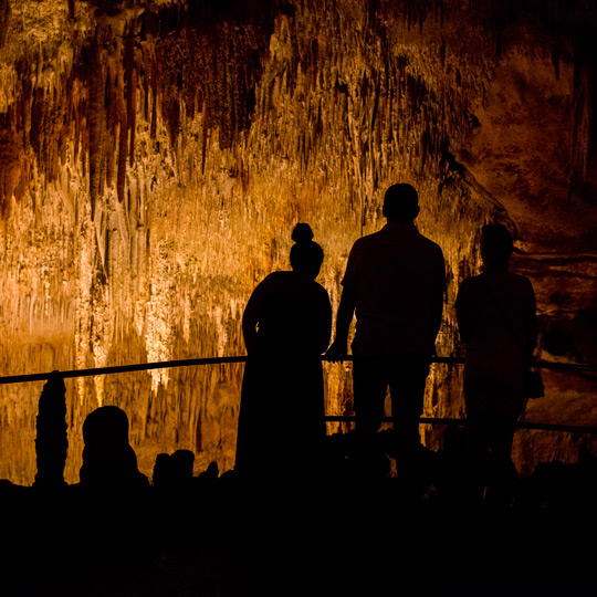 Visitors inside the Caves of Drach in Mallorca