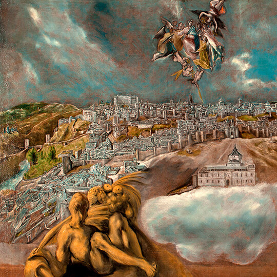 Detail of the painting 'View of Toledo' by El Greco.