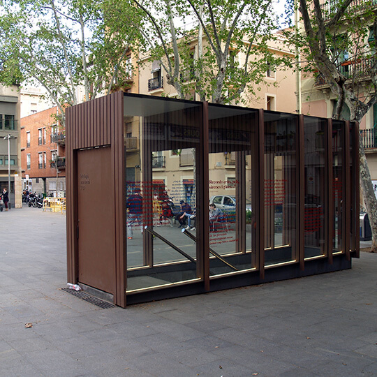 Entrance to the air-raid shelter on Plaça del Diamant, Barcelona
