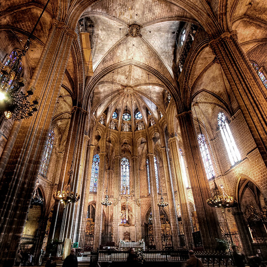 Interior of the Cathedral of Santa Eulalia in Barcelona